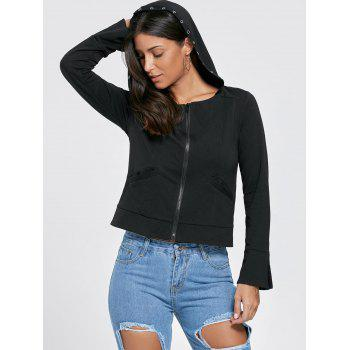 Zip Up Flare Sleeve Lace Up Hoodie - Noir L