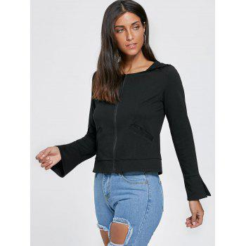 Zip Up Flare Sleeve Lace Up Hoodie - Noir XL