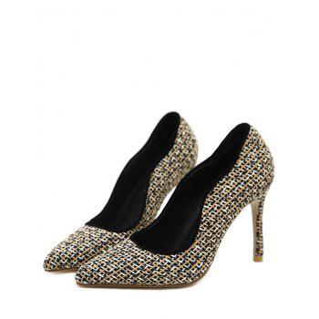 Gien Check Stiletto Heel Sequins Pumps - Noir 39