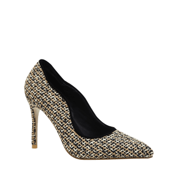 Gien Check Stiletto Heel Sequins Pumps - 40 40
