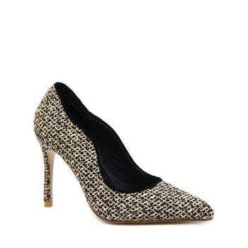 Gien Check Stiletto Heel Sequins Pumps - BLACK 40