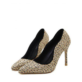 Gien Check Stiletto Heel Sequins Pumps - Abricot 40