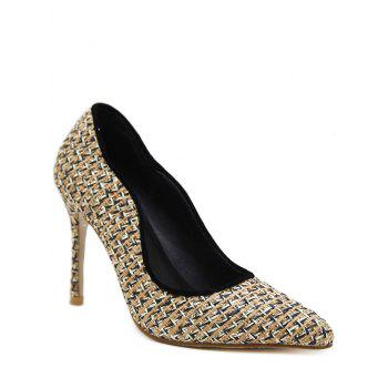 Gien Check Stiletto Heel Sequins Pumps - APRICOT 37