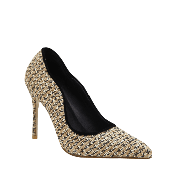 Gien Check Stiletto Heel Sequins Pumps - 37 37