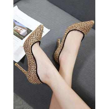 Gien Check Stiletto Heel Sequins Pumps - GOLDEN 37