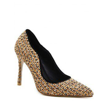 Gien Check Stiletto Heel Sequins Pumps
