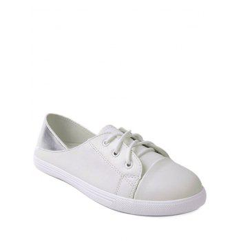Faux Leather Two Tone Flat Shoes - WHITE 37