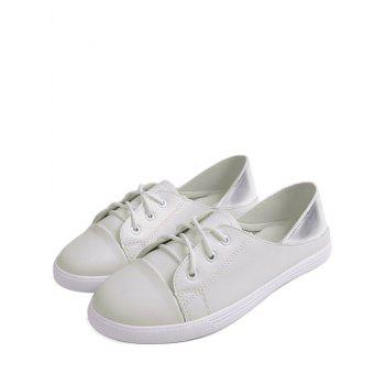 Faux Leather Two Tone Flat Shoes - WHITE 38