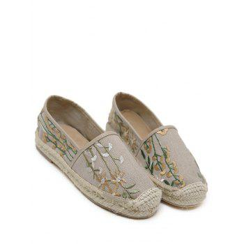Stitching Canvas Embroidery Flat Shoes - 37 37