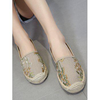 Stitching Canvas Embroidery Flat Shoes - 38 38