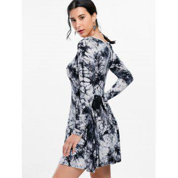 Tie Dye Long Sleeve Casual Dress - Noir et Gris M