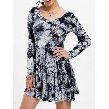 Tie Dye Long Sleeve Casual Dress - BLACK AND GREY XL