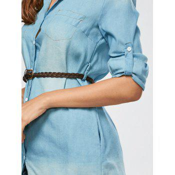 Mini Button Up Denim Shirt Dress with Pockets - LIGHT BLUE L