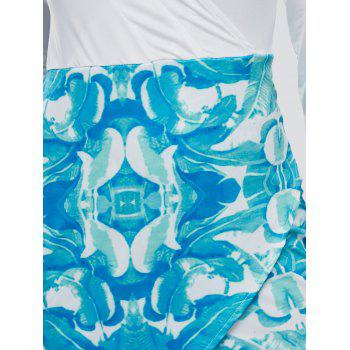 Tropical Print Mini Asymmetrical Bodycon Dress - WHITE WHITE