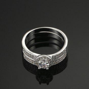 Rhinestone Circle Sparkly Finger Ring Set - SILVER SILVER