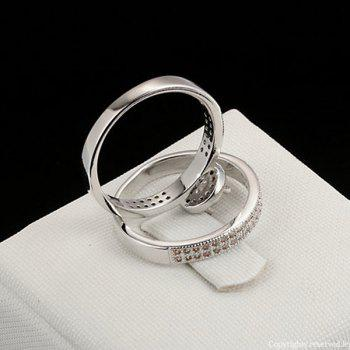 Rhinestone Circle Sparkly Finger Ring Set - SILVER 7