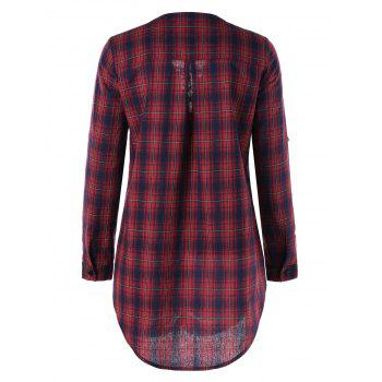 Lace Up Button Up Plaid Long Shirt - COLORMIX 2XL