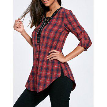 Lace Up Button Up Plaid Long Shirt