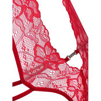 Low Cut Halter Lace Teddy - Rouge XL