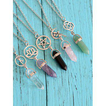 Natural Stone Collarbone Pendant Necklace -  PINK