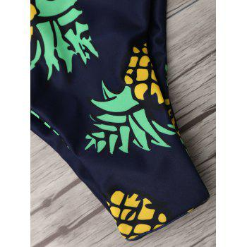 Pineapple Print Thong Bottom Bikini Set - PURPLISH BLUE PURPLISH BLUE