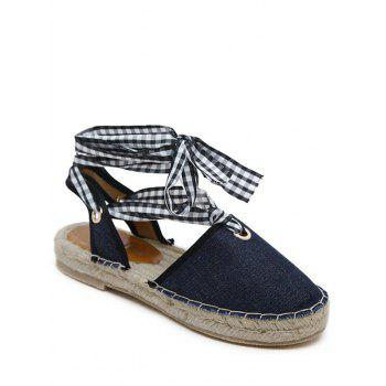 Stitching Tie Up Slingback Sandals - DEEP BLUE 37