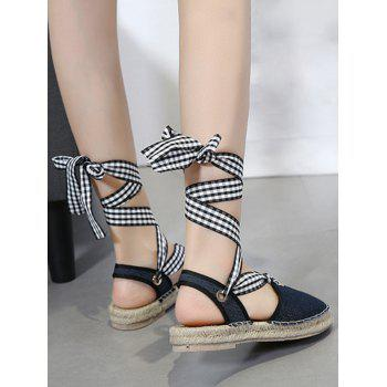 Stitching Tie Up Slingback Sandals - 37 37