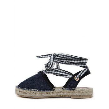 Stitching Tie Up Slingback Sandals - 40 40