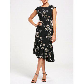 Asymmetrical Floral Print Mermaid Midi Dress