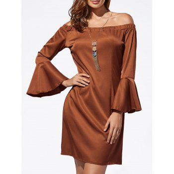 Mini Off The Shoulder Bell Sleeve Dress - DARK AUBURN L