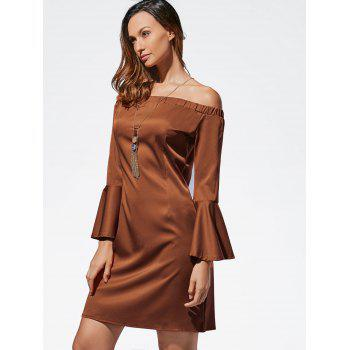 Mini Off The Shoulder Bell Sleeve Dress - L L