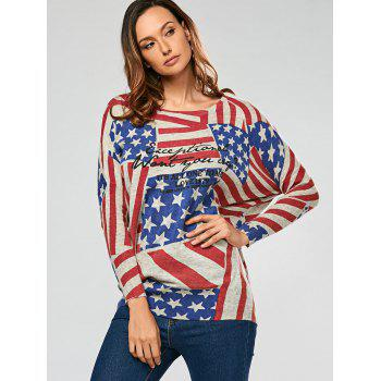 Pullover Drop Sleeve American Flag Pattern Sweater - GRAY ONE SIZE