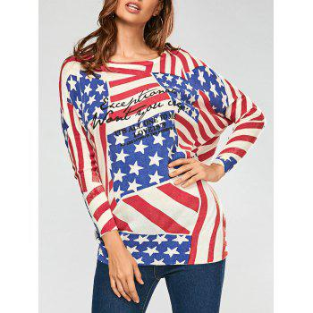 Pullover Drop Sleeve American Flag Pattern Sweater