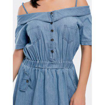 Cold Shoulder Pocket Mini Chambray Dress - DENIM BLUE DENIM BLUE