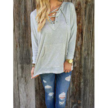 Long Sleeve Lace Up Hoodie