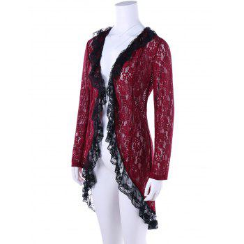 Two Tone Lace High Low Hem Cardigan