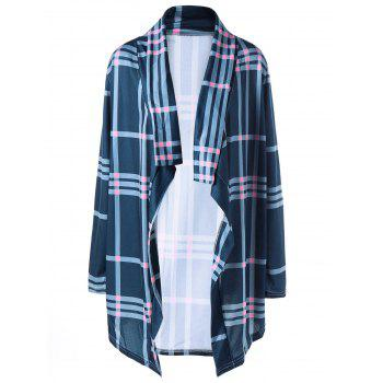 Shawl Collar Plaid Drape Cardigan