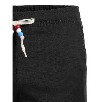Beaded Drawstring Bermuda Shorts - BLACK BLACK