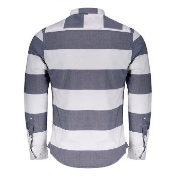 Pocket Striped Shirt - BLUE/WHITE XL