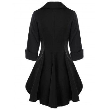 Double Breasted Short Flare Trench Coat - BLACK 2XL