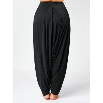 Drawstring Drop Bottom Plus Size Harem Pants - BLACK BLACK
