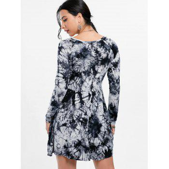 Tie Dye Long Sleeve Casual Dress - BLACK/GREY BLACK/GREY