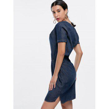 V-Neck Chambray Mini Dress With Cami Top - Bleu Foncé L