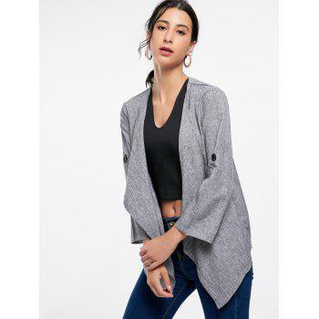 Long Sleeve Draped Open Front Blazer - GRAY GRAY