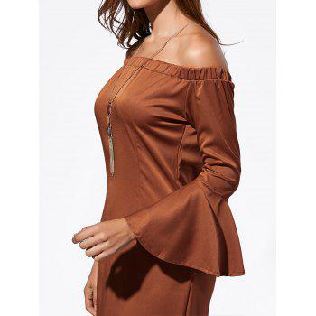 Mini Off The Shoulder Bell Sleeve Dress - DARK AUBURN DARK AUBURN