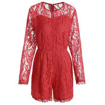Lace Panel See Thru Plus Size Romper - RED RED