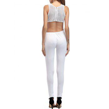 Mesh Insert Cut Out Jumpsuit - WHITE WHITE