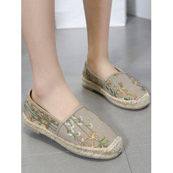 Stitching Canvas Embroidery Flat Shoes - APRICOT APRICOT