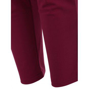 Elastic Waist Ankle Length Plus Size Pencil Pants - PURPLISH RED C  PURPLISH RED C