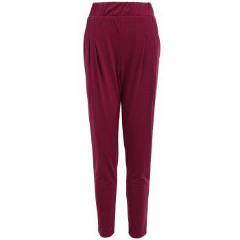 Elastic Waist Ankle Length Plus Size Pencil Pants - PURPLISH RED C5 PURPLISH RED C